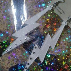 Jewelry - White lightning bolt earrings⚡💀🖤